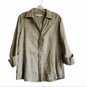 Foxcroft 200% Linen Button Down Blouse - Medium